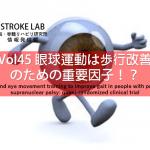 vol.45:眼球運動は歩行改善のための重要因子!?                     脳卒中/脳梗塞のリハビリ論文サマリー
