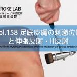 vol.158:足底皮膚の刺激位置と伸張反射・H反射  脳卒中/脳梗塞のリハビリ論文サマリー