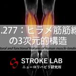 vol.277:ヒラメ筋筋線維の3次元的構造   脳卒中/脳梗塞のリハビリ論文サマリー