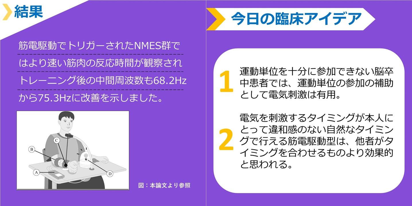 筋電駆動型のNMES(電気刺激)を使用した手関節背屈トレーニングの効果 まとめ図2